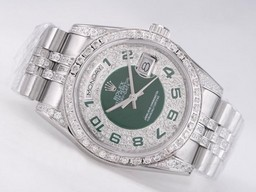 Fake Cool Rolex Day-Date Liikkeen Timantti Kehys Green Dial AAA