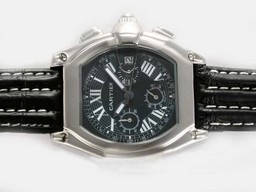 Fake Upea Cartier Roadster Työskentely Chronograph Black Dial -