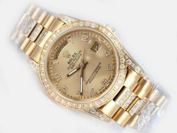 Fake Modern Rolex Day-Date Automatic Full Gold Diamond Kehys Gol